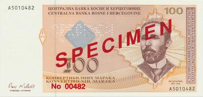 Bosna a Hercegovina, 100 Konvert. Marka (1998), anulát - SPECIMEN, P.70s