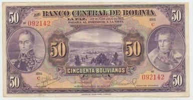 Bolívie, 50 Bolivianos 1928, I. vydání, Rv. červený, P.123