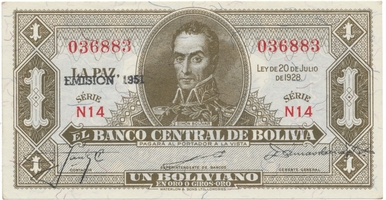 Bolívie, 1 Boliviano 1951, P.128b