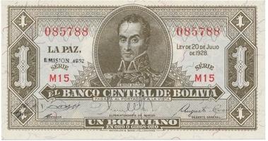 Bolívie, 5 Bolivianos 1928, I. vydání, P.120