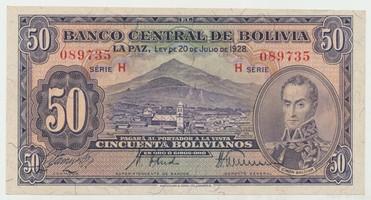 Bolívie, 50 Bolivianos 1928, II. vydání, P.132