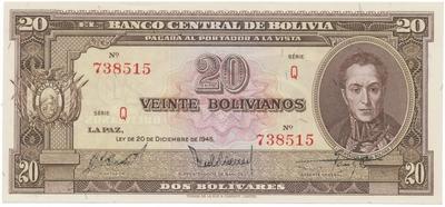 Bolívie, 20 Bolivianos 1945, P.140a
