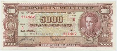 Bolívie, 5000 Bolivianos 1945, P.150