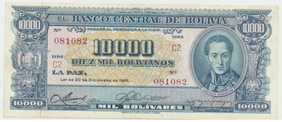 Bolívie, 10000 Bolivianos 1945, P.151