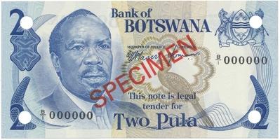 Botswana, 2 Pula (1976), anulát - SPECIMEN, P.2s