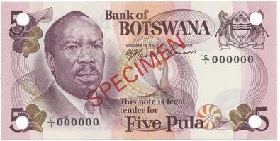 Botswana, 5 Pula (1976), anulát - SPECIMEN, P.3s