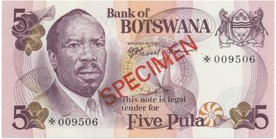 Botswana, 5 Pula (1976), SPECIMEN, P.3cs