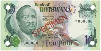 Botswana, 10 Pula (1976), anulát - SPECIMEN, P.4s1