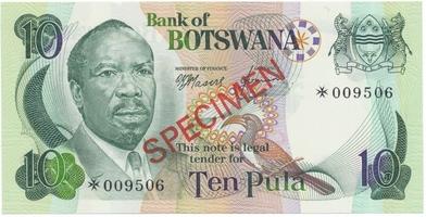 Botswana, 10 Pula (1976), SPECIMEN, P.4cs