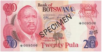 Botswana, 20 Pula (1979), SPECIMEN, P.5cs