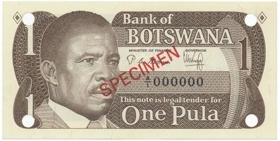 Botswana, 1 Pula (1983), anulát - SPECIMEN, P.6s1