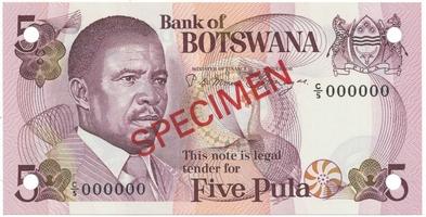 Botswana, 5 Pula (1982), anulát - SPECIMEN, P.8s1