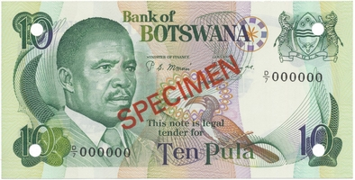 Botswana, 10 Pula (1982), anulát - SPECIMEN, P.9s1
