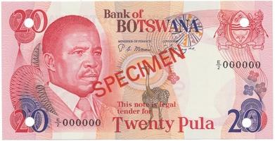 Botswana, 20 Pula (1982), anulát - SPECIMEN, P.10s1