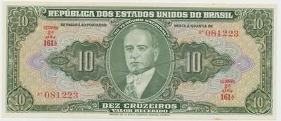 Brazílie, 10 Cruzeiros (1950), s ručním podpisem, P.143