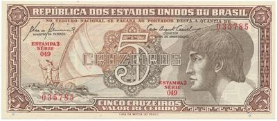 Brazílie, 5 Cruzeiros (1961~1962), P.166a
