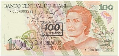 Brazílie, 100 Cruzeiros (1990), náhradní série s hvězdičkou, P.224