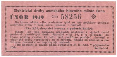 Brno - elektrické dráhy, 2.50 Kčs únor 1949, HH.16.1.1a