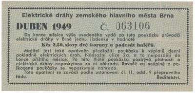 Brno - elektrické dráhy, 2.50 Kčs duben 1949, HH.16.1.3a