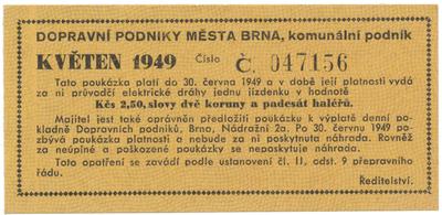 Brno - elektrické dráhy, 2.50 Kčs květen 1949, HH.16.1.4a