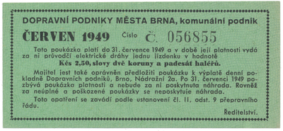 Brno - elektrické dráhy, 2.50 Kčs červen 1949, HH.16.1.5a