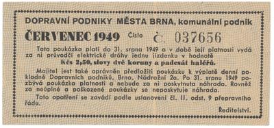 Brno - elektrické dráhy, 2.50 Kčs červenec 1949, HH.16.1.6