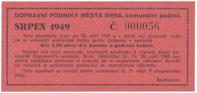 Brno - elektrické dráhy, 2.50 Kčs srpen 1949, HH.16.1.7