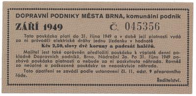Brno - elektrické dráhy, 2.50 Kčs září 1949, HH.16.1.8