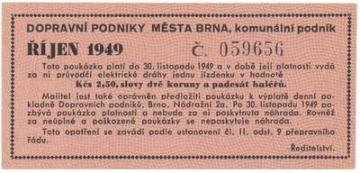Brno - elektrické dráhy, 2.50 Kčs říjen 1949, HH.16.1.9