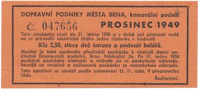 Brno - elektrické dráhy, 2.50 Kčs prosinec 1949, HH.16.1.11