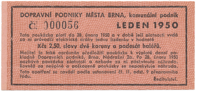 Brno - elektrické dráhy, 2.50 Kčs leden 1950, HH.16.1.12
