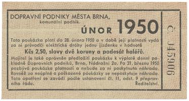Brno - elektrické dráhy, 2.50 Kčs únor 1950, HH.16.1.13a