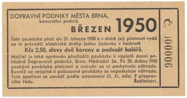 Brno - elektrické dráhy, 2.50 Kčs březen 1950, HH.16.1.14