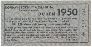 Brno - elektrické dráhy, 2.50 Kčs duben 1950, HH.16.1.15