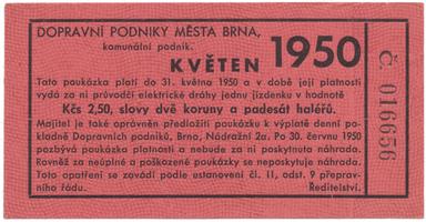 Brno - elektrické dráhy, 2.50 Kčs květen 1950, HH.16.1.16a