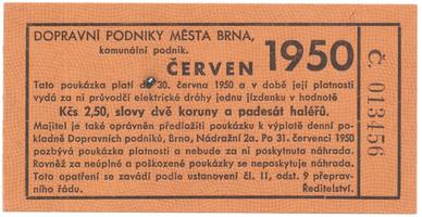 Brno - elektrické dráhy, 2.50 Kčs červen 1950, HH.16.1.17