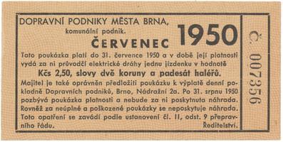 Brno - elektrické dráhy, 2.50 Kčs červenec 1950, HH.16.1.18a