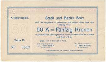 Brüx (Most) - město a okres, 50 K  1918, HH.18.1.3f