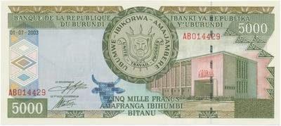 Burundi, 5000 Francs 2003, P.42b