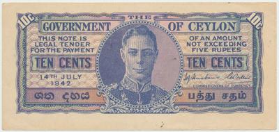 Cejlon, 10 Cents 1942, P.43a