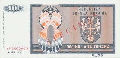 Chorvatsko, 1000 Dinara 1992, anulát - SPECIMEN, P.R5s