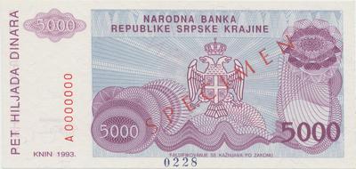 Chorvatsko, 5000 Dinara 1993, anulát - SPECIMEN, P.R20