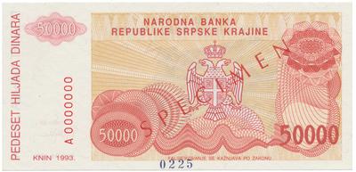 Chorvatsko, 50.000 Dinara 1993, anulát - SPECIMEN, P.R21s