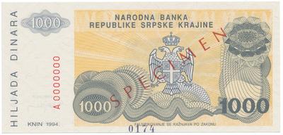 Chorvatsko, 1000 Dinara 1994, anulát - SPECIMEN, P.R30s