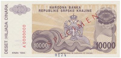 Chorvatsko, 10.000 Dinara 1994, anulát - SPECIMEN, P.R31s