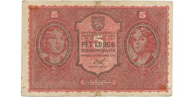 Československo, 5 Koruna 1919, dobový tištěný padělek, Baj.8