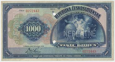 Československo, 1000 Koruna 1919, bankovní vzor