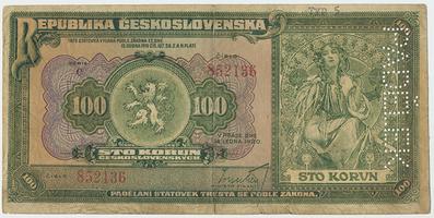 Československo, 100 Koruna 1920, Baj.16af, 1x perforace PADĚLEK