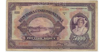 Československo, 5000 Koruna 1920, serie A, Baj.17a, perforace SPECIMEN