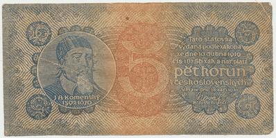 Československo, 5 Koruna 1921, serie 3, dobový padělek, Baj.18f